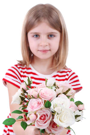 Beautiful little girl holding bouquet isolated on white photo