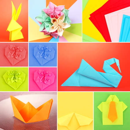 Collage of different origami papers close-up photo