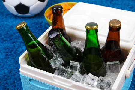 Ice chest full of drinks in bottles on color carpet background photo