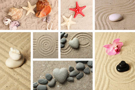 Collage of zen garden with sand and stones photo