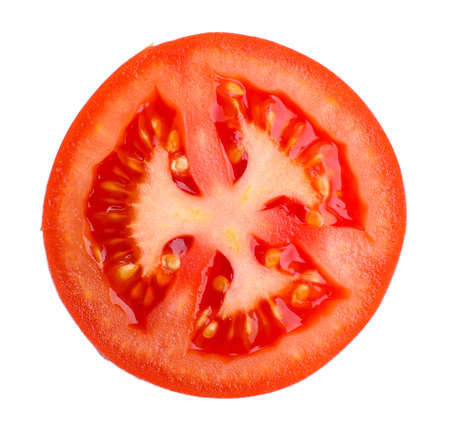 Slice of fresh tomato, isolated on white