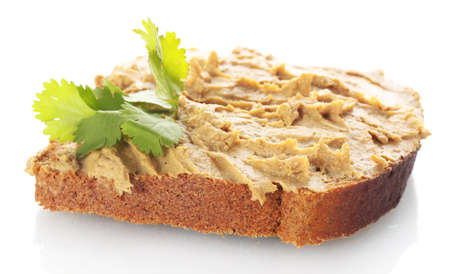 Fresh pate on bread isolated on white