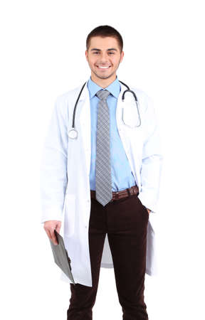 male doctor: Male Doctor standing with folder, isolated on white background