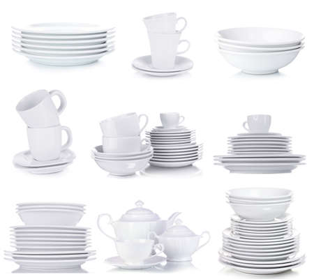 crockery: Clean dishware isolated on white