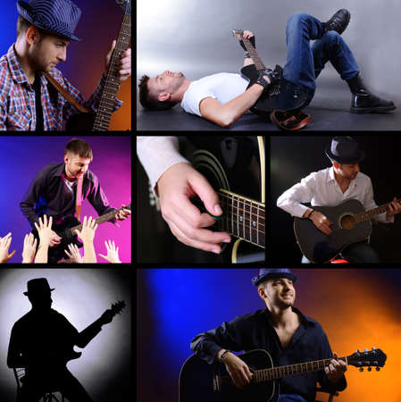 Music Collage.Young musician with guitar Stock Photo