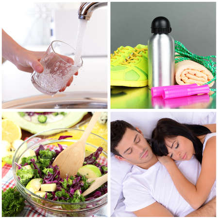 Collage of healthy lifestyle photo