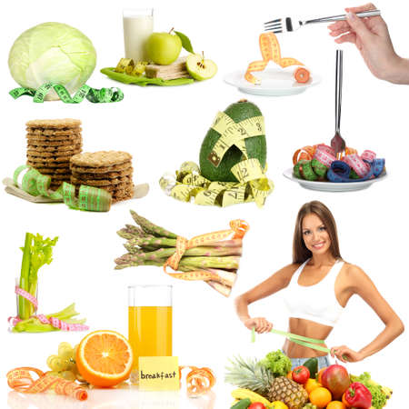 Collage of diet products isolated on white photo