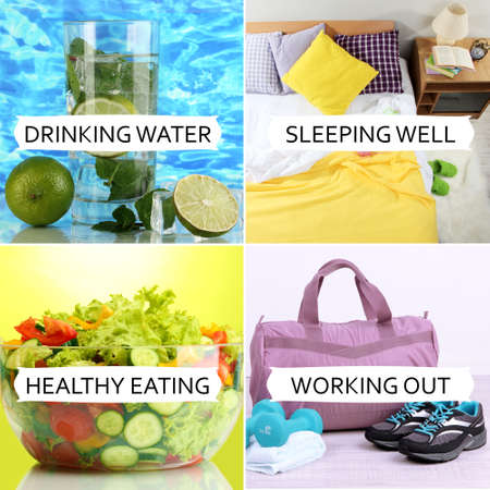 sleep well: Collage of healthy lifestyle Stock Photo