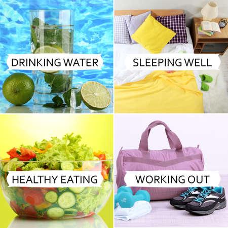 Collage van een gezonde levensstijl