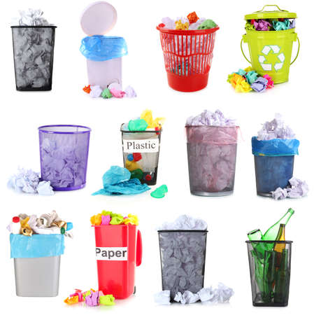 garbage bin: Collage of different garbage isolated on white