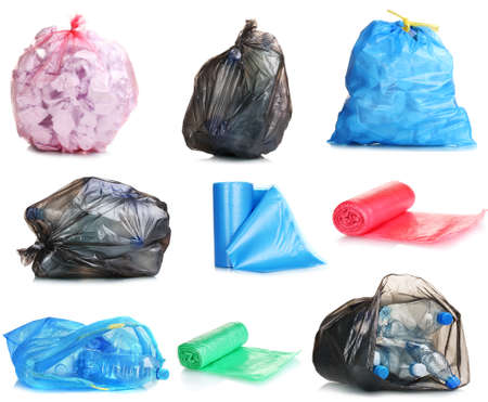 Collage of different garbage bags isolated on white photo