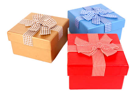 Gift boxes isolated on white photo