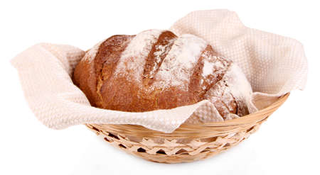 Rye bread in basket isolated on white photo