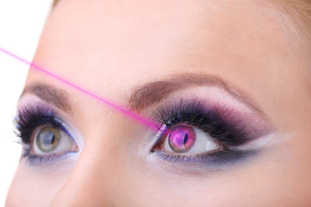 laser surgery: Laser vision correction. Womans  eyes.