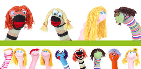 Collage of different funny sock puppets Zdjęcie Seryjne - 26204778