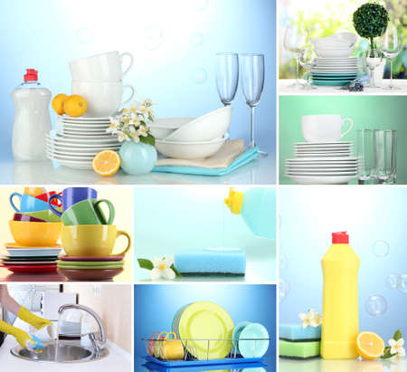 Collage of washing dishes, close-up photo