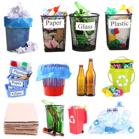 alcohol cardboard: Collage of different garbage isolated on white
