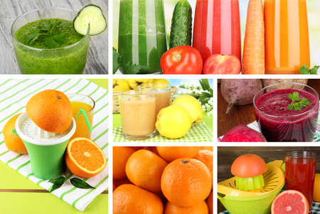 Fresh juice collage photo