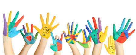 Mains peintes avec le sourire isolé sur fond blanc Banque d'images - 26205067