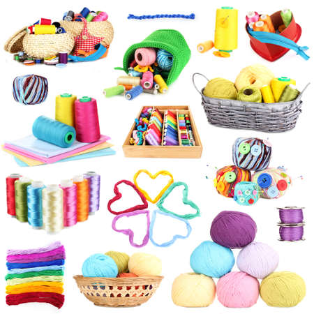 basket embroidery: Collage of multicolored skeins of thread isolated on white