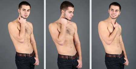 Snapshots of model. Handsome man on grey background photo