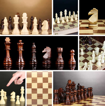 Collage of chess game photo