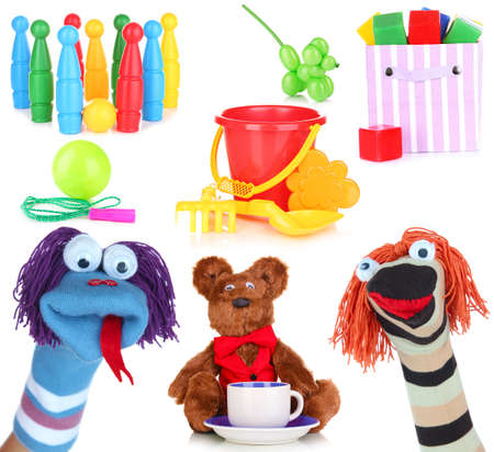sock puppet: Collage of children toys isolated on white Stock Photo