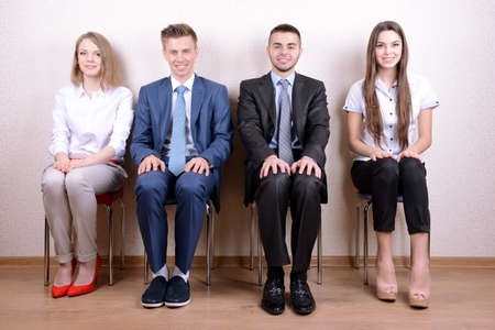 recruit: Business people waiting for job interview