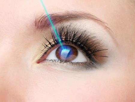 ojo: Corrección de la visión con láser. Ojo de la mujer. Foto de archivo