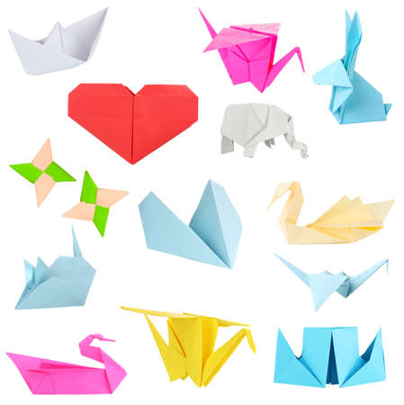 Collage of different origami papers isolated on white photo