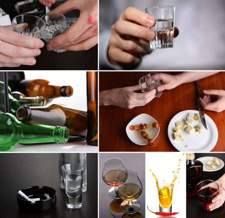 Collage of alcoholism close-up photo
