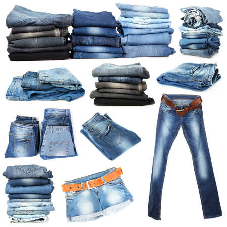 bluejeans: Jeans collage isolated on white