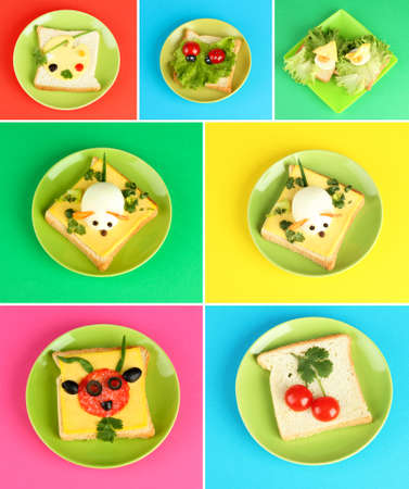 Collage of fun food for kids photo