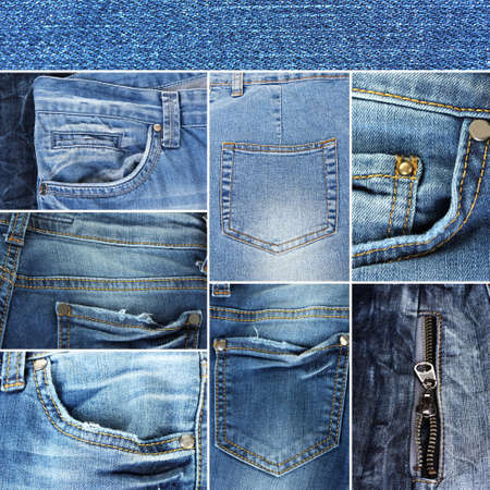 Collage of jeans close-up photo