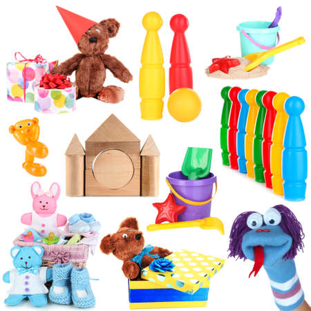 Collage of children toys isolated on white photo