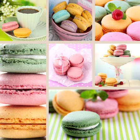 Tasty macaroons collage photo