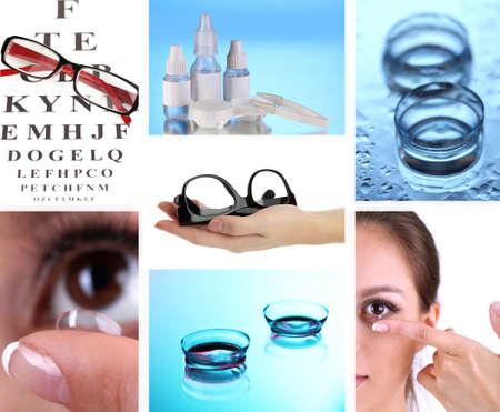 lentes de contacto: Collage de equipo para una buena visión de cerca Foto de archivo