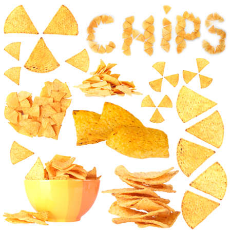 Collage of  tasty potato chips isolated on white photo