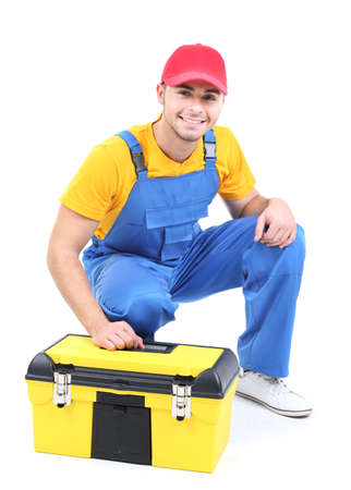 Male worker with toolbox isolated on white Imagens