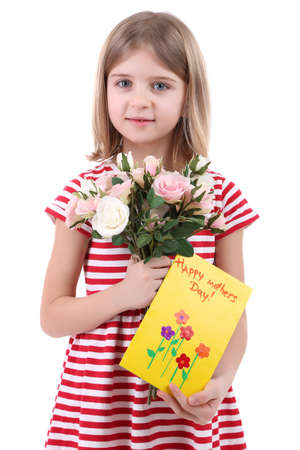Beautiful little girl holding bouquet and card isolated on white photo