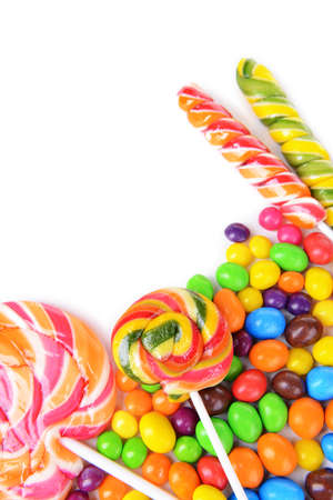 Different colorful fruit candy close-up photo