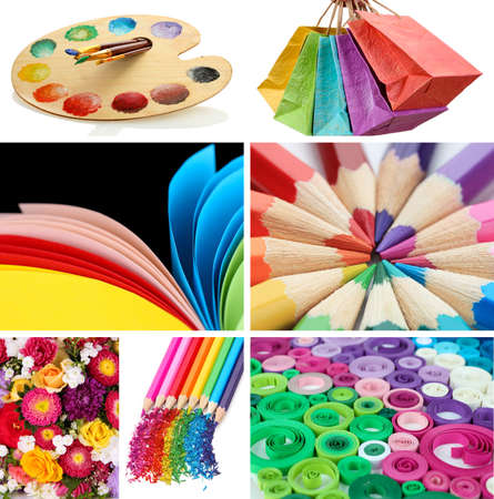Collage of photos in rainbow colors photo