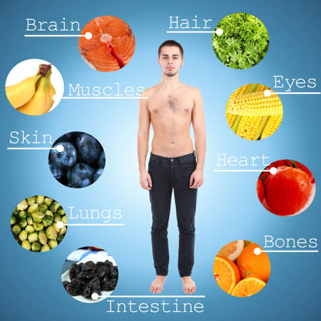 Collage of the most useful foods for human photo