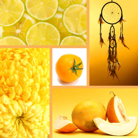 Collage of photos in yellow colors photo