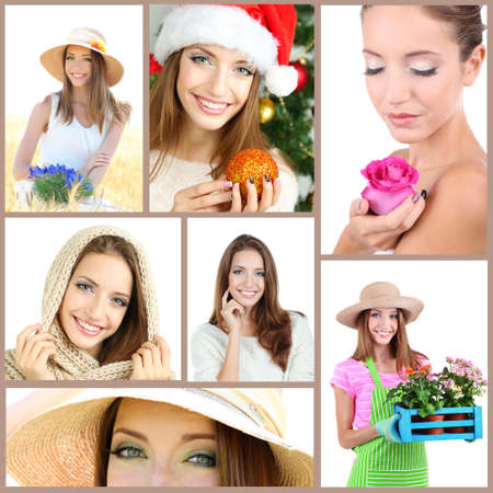 Collage of portraits young beautiful girl photo