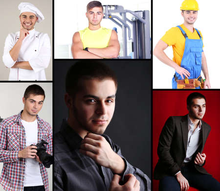 Collage of portraits young handsome man photo
