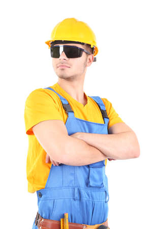 Young worker isolated on white Stock Photo