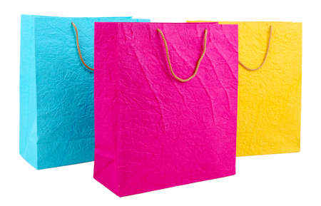 Colorful shopping bags, isolated on white photo