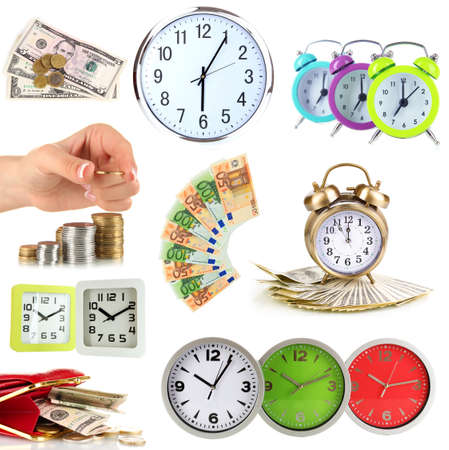 Collage of clocks and money isolated on white photo