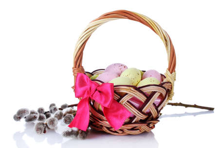 pink pussy: basket with Easter eggs and pussy-willow twigs isolated on white Stock Photo